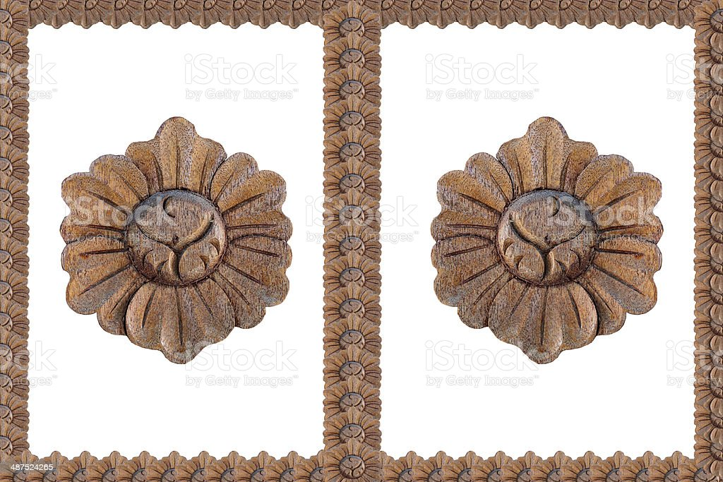 Frame from wood carving stock photo