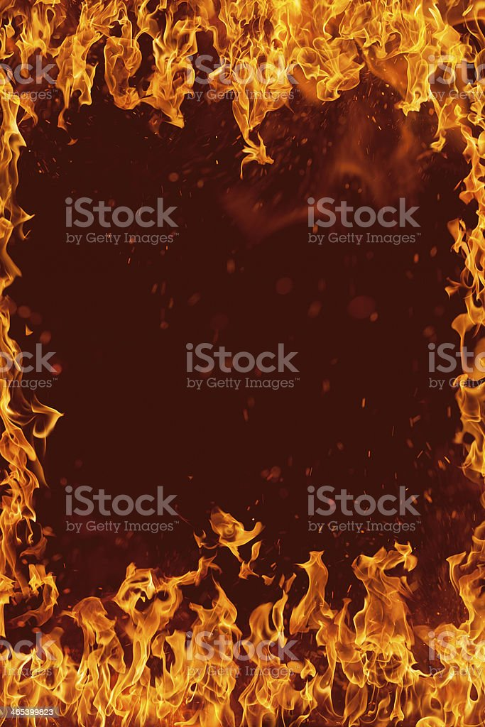 Frame made by fire flames royalty-free stock photo