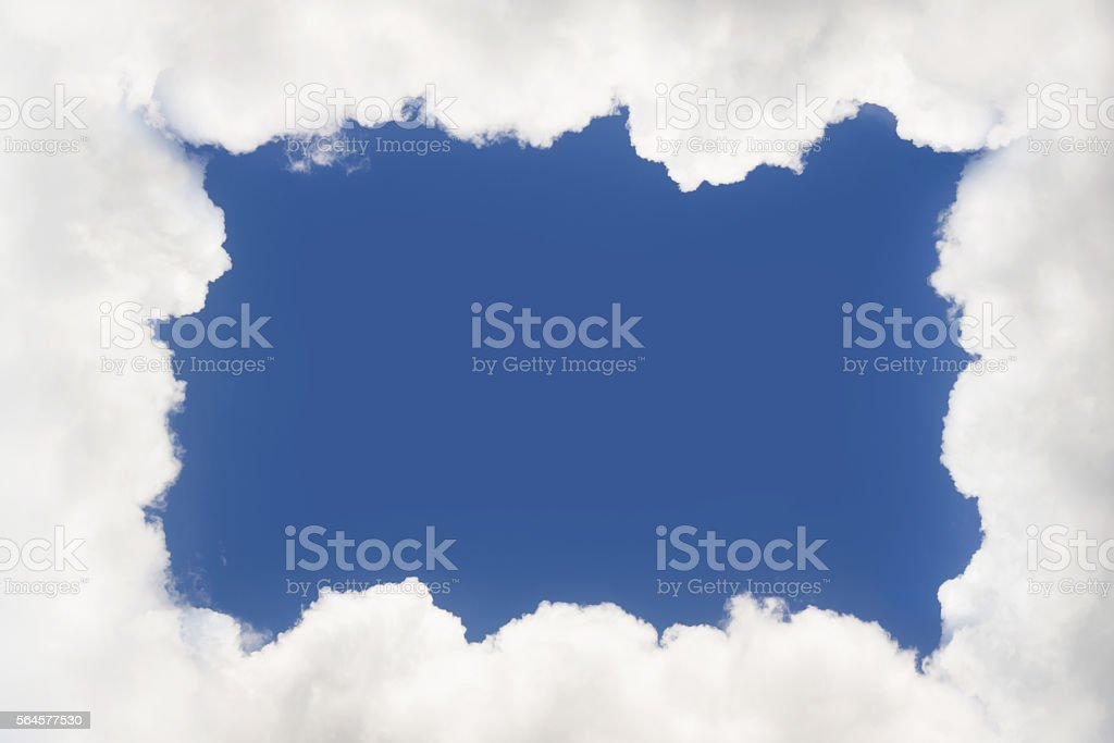 Frame made from clouds. Abstract Background. stock photo