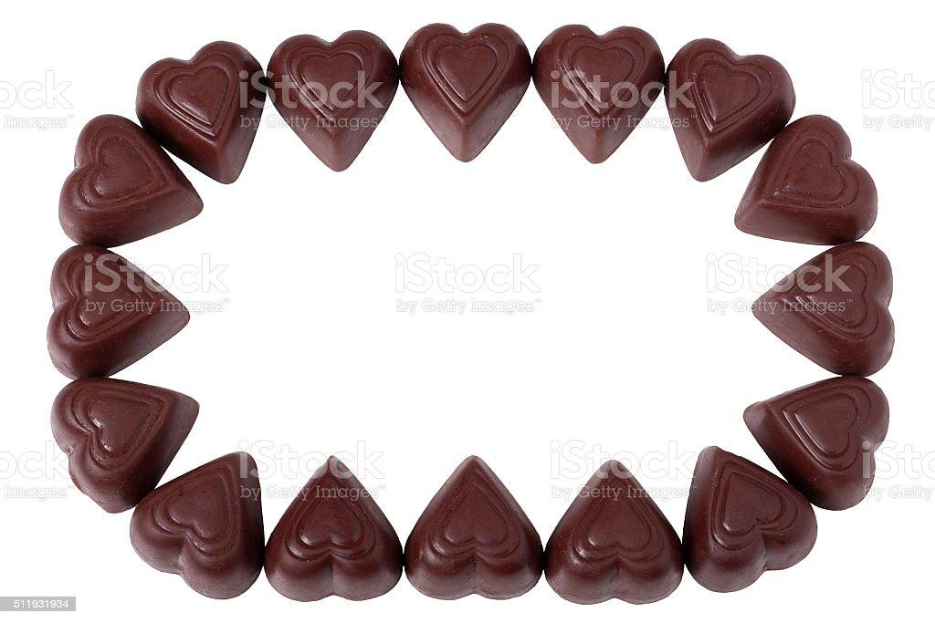 Frame made of chocolate pralines stock photo
