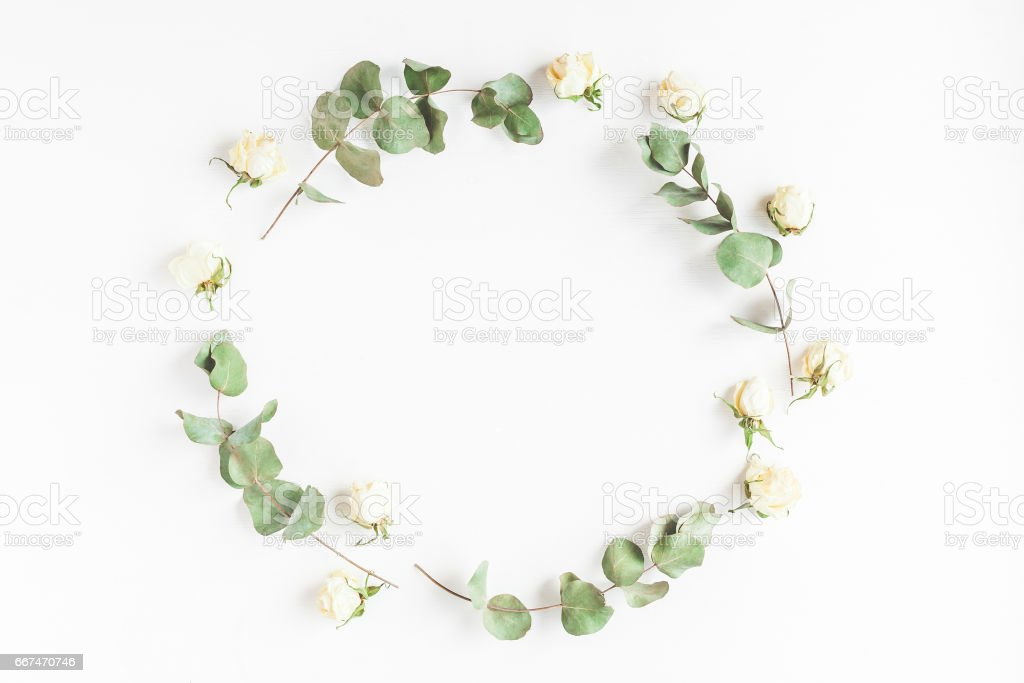 Frame made of dried eucalyptus branches and rose flowers stock photo