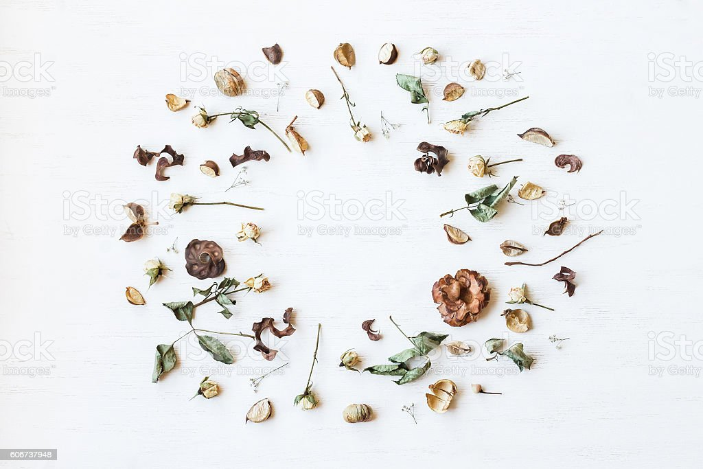 Frame made of dried flowers and autumn leaves. Flat lay stock photo