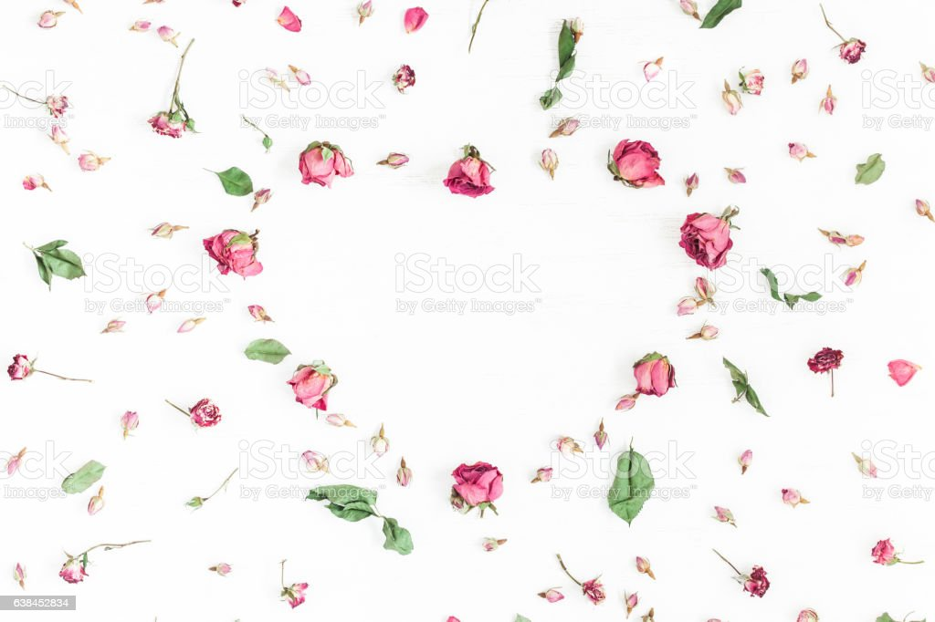 Frame made of dried rose flowers on white background stock photo