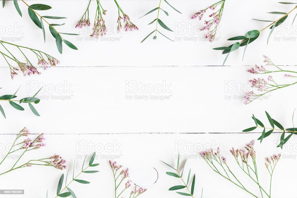 Frame made of eucalyptus leaves and pink flowers. Flat lay stock photo