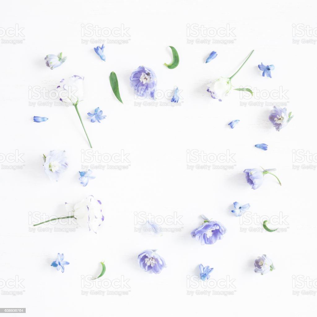 Frame made of lilac flowers. Flat lay, top view, square stock photo