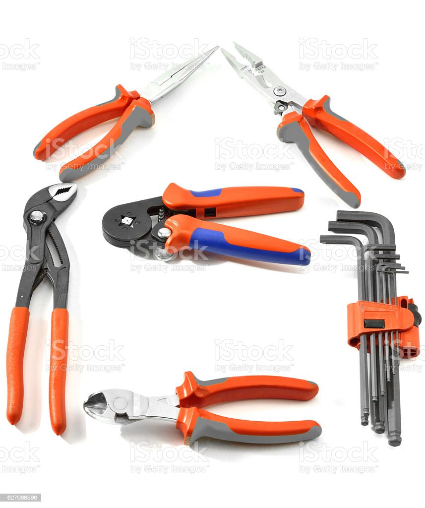 Frame Made of Work Tools stock photo