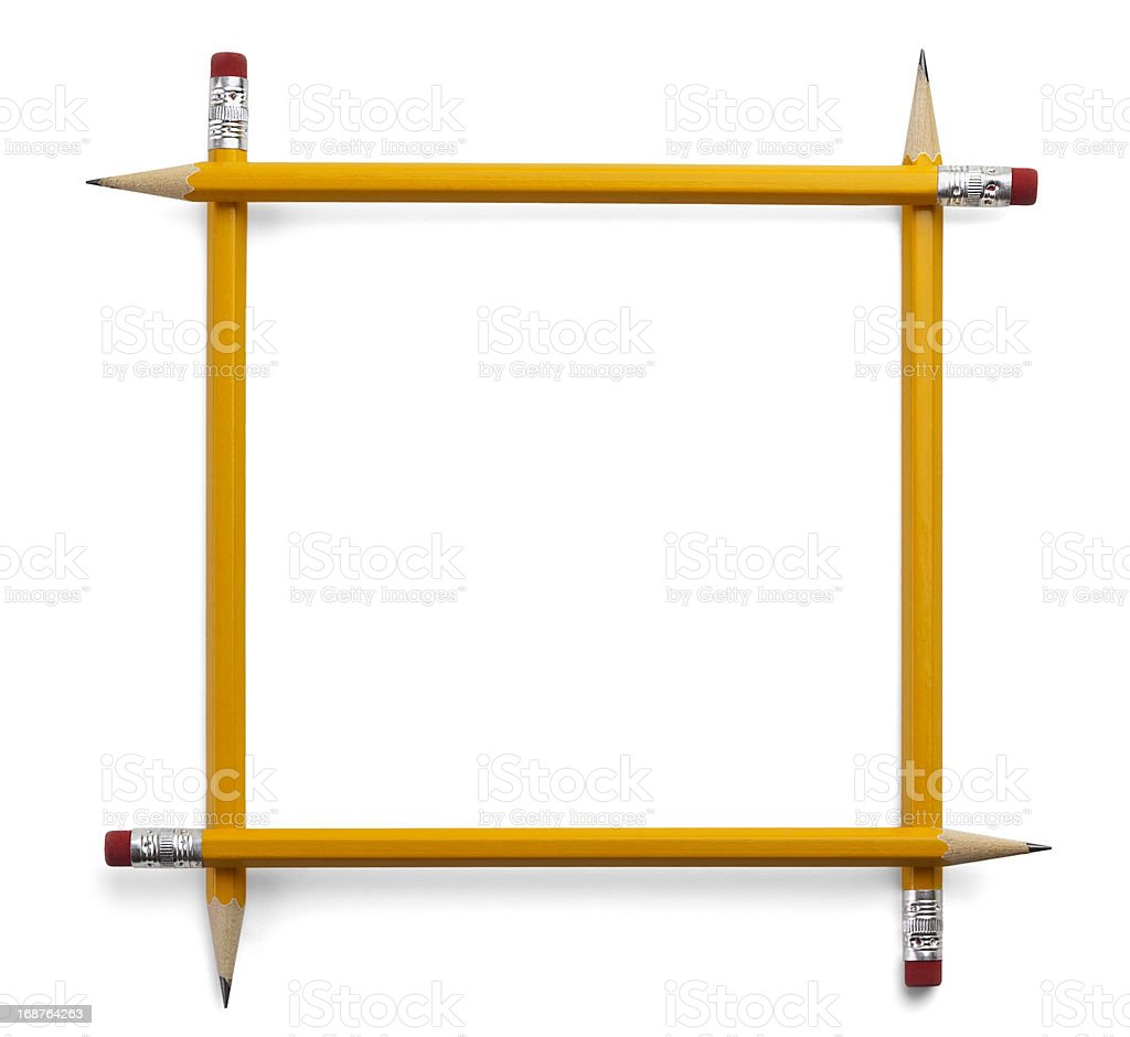 Frame Made of Yellow Wooden Pencils royalty-free stock photo