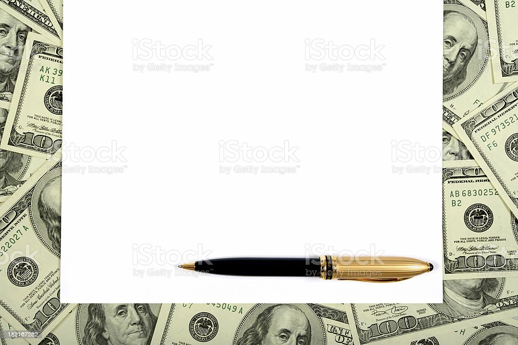 Frame of $100 banknotes - Add text royalty-free stock photo