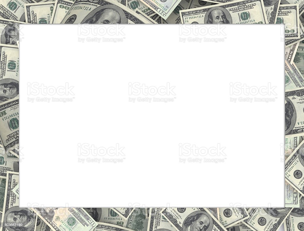 Frame of $100 banknotes - Add text stock photo