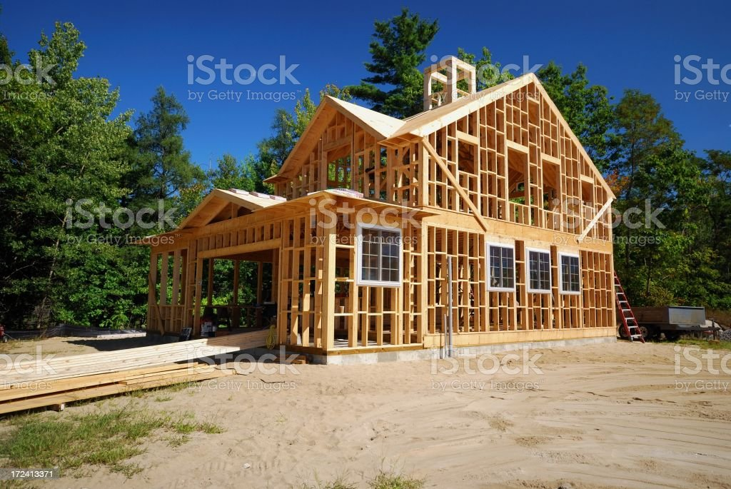 Frame of a new building under construction stock photo