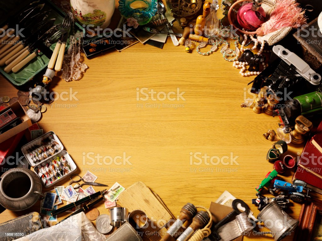 Frame of Antiques and Collectables royalty-free stock photo