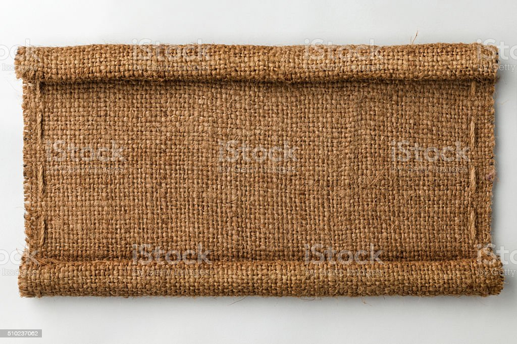 Frame of burlap with curled edges stock photo