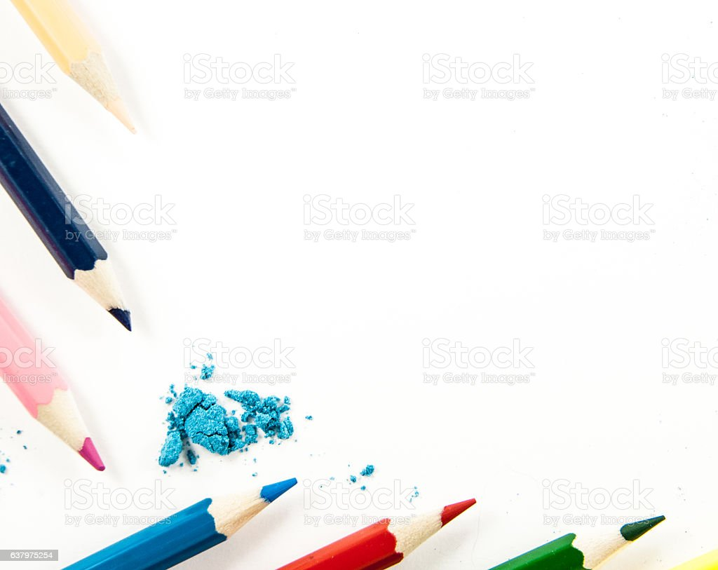 frame of colored pencils stock photo