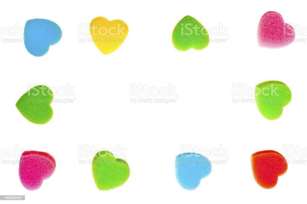 Frame of colorful hearts on a white background royalty-free stock photo