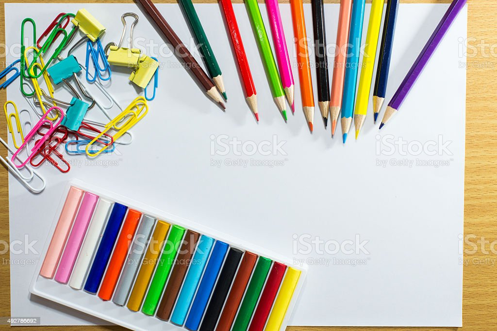 Frame Of Colorful School Supplies And Equipment Education Art stock ...