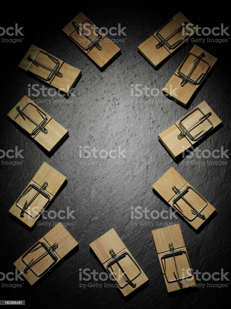Frame of Empty Mousetraps stock photo