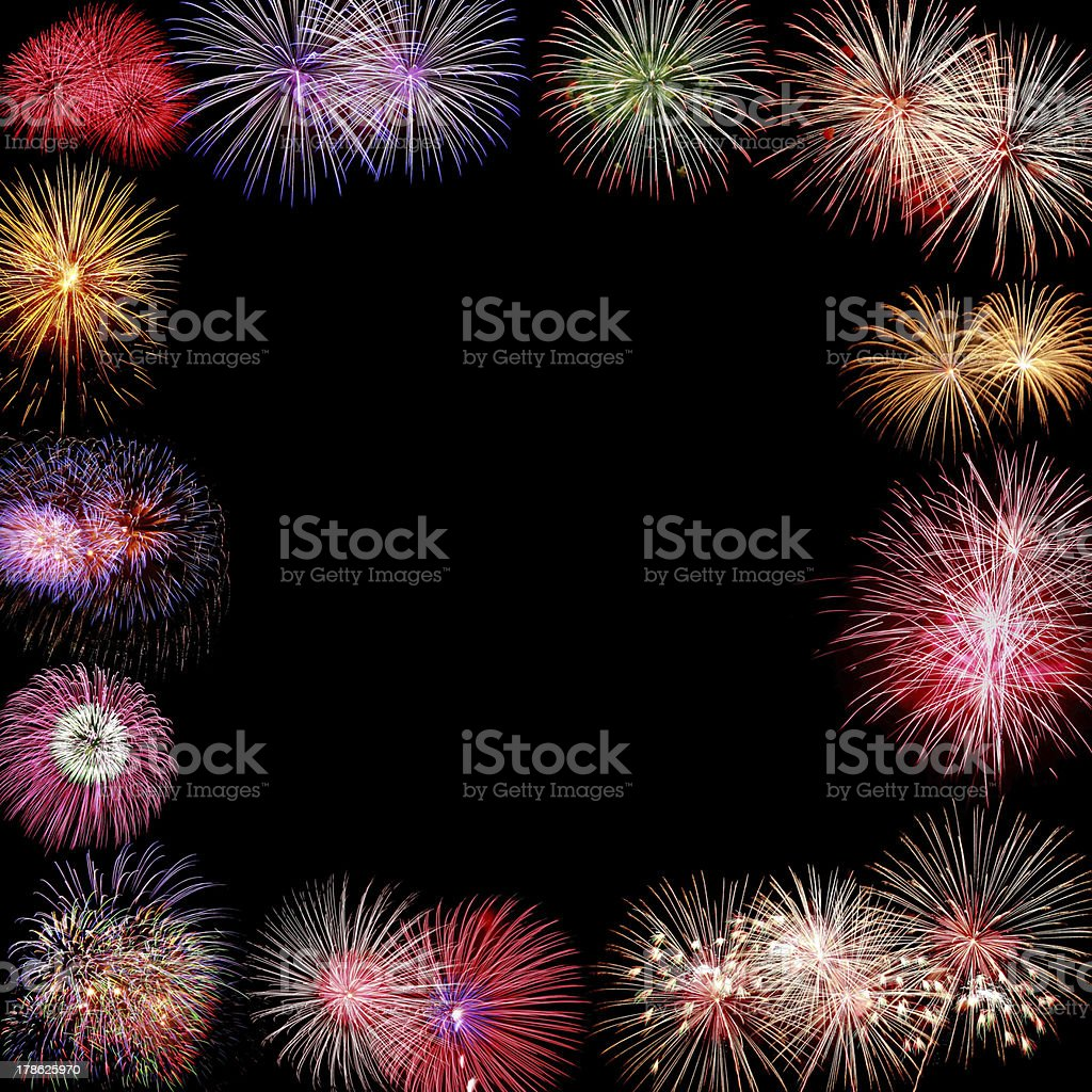 Frame of Firework Group on black background royalty-free stock photo