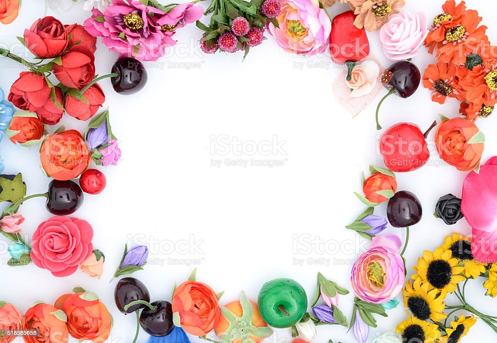 frame of flowers on white stock photo