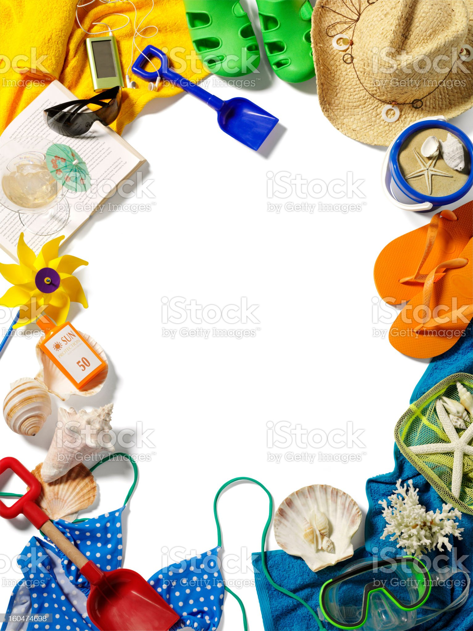 Frame of Holiday and Beach Accessories royalty-free stock photo
