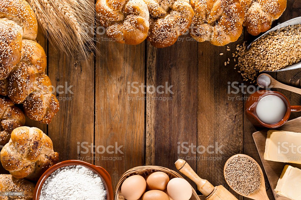 Frame of ingredients for bread preparation shot directly above stock photo