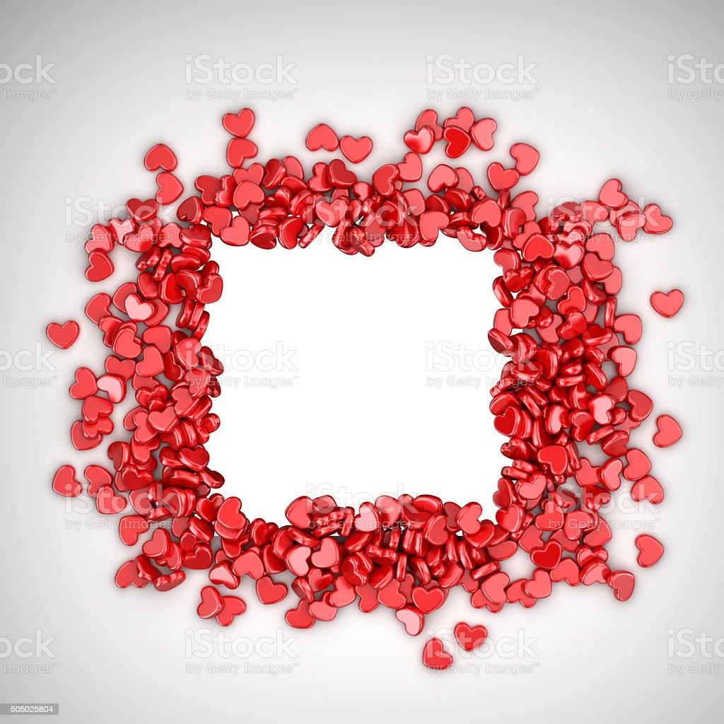 Frame of love hearts 3D. Valentine's day, isolated vector art illustration