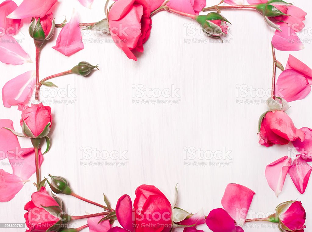 frame of pink flowers on a white background stock photo
