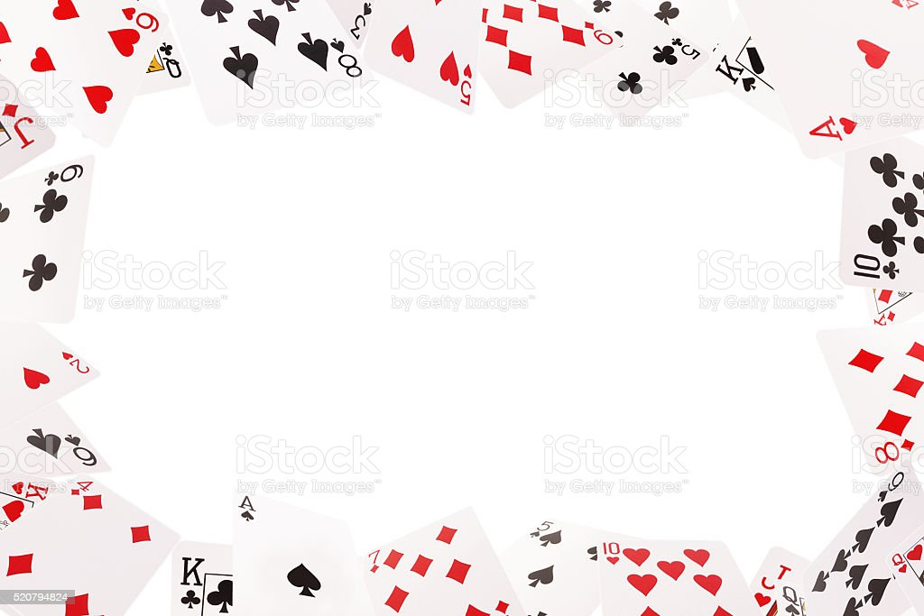 Frame of playing cards on a white background stock photo