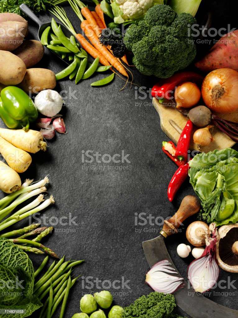 Frame of Root and Green Vegetables stock photo