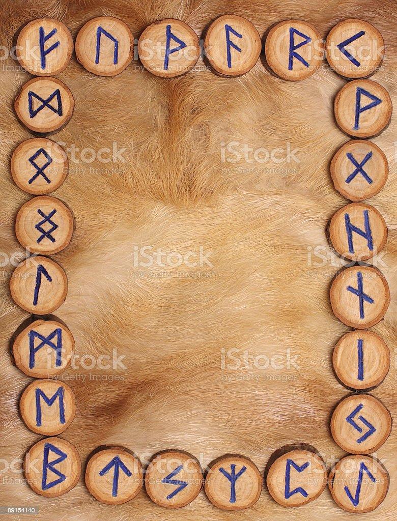 Frame of runes stock photo