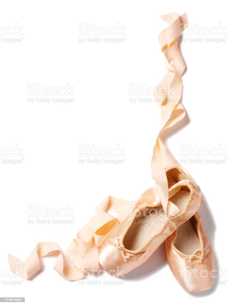 Frame of Satin Pink Ballet Shoes stock photo