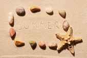 Frame of sea stones and starfish with summer on sand