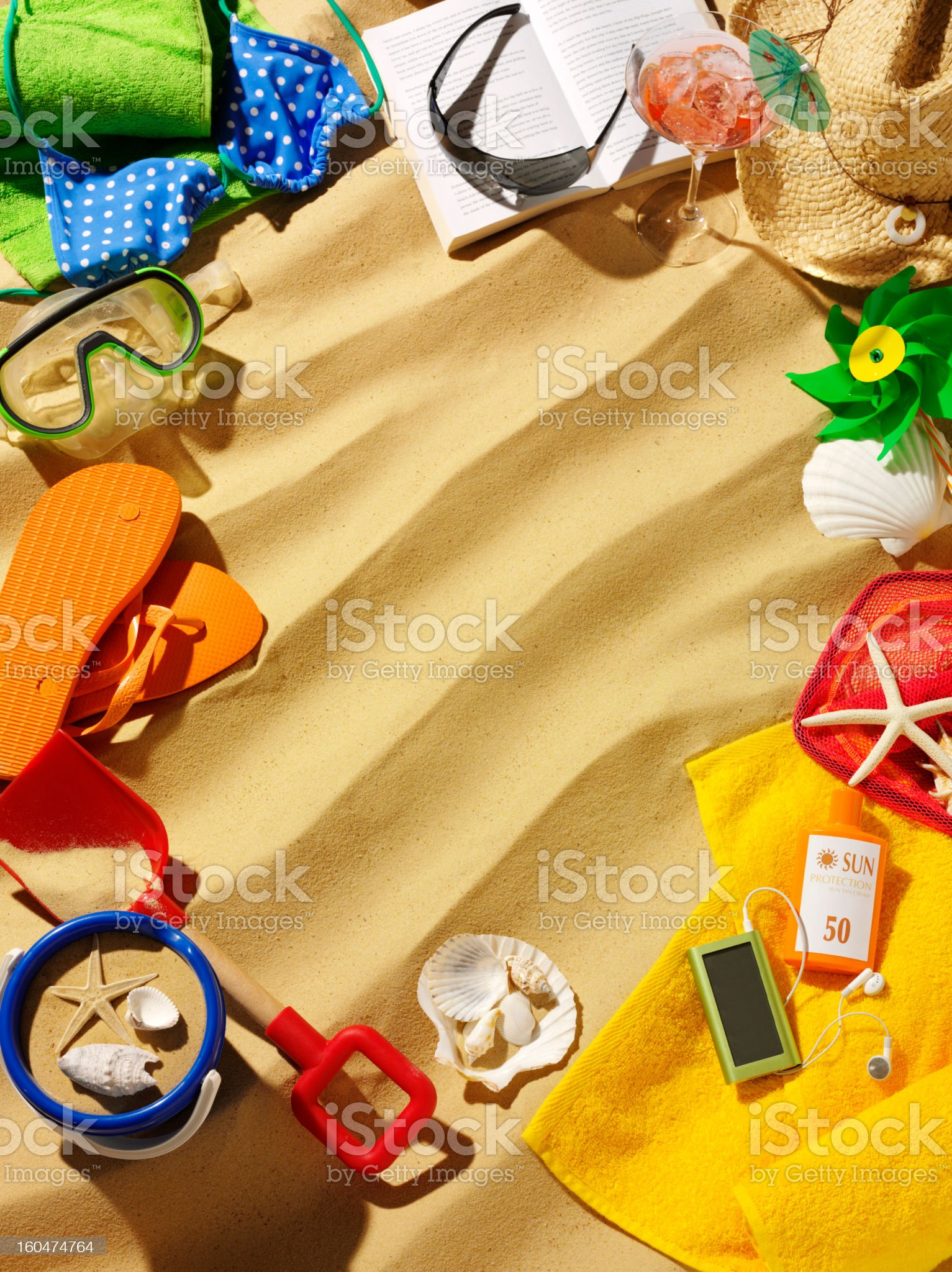 Frame of Summer and Beach Accessories royalty-free stock photo