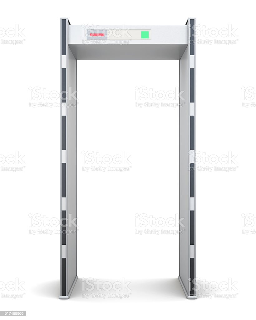 Frame of the metal detector isolated on white background. Front stock photo