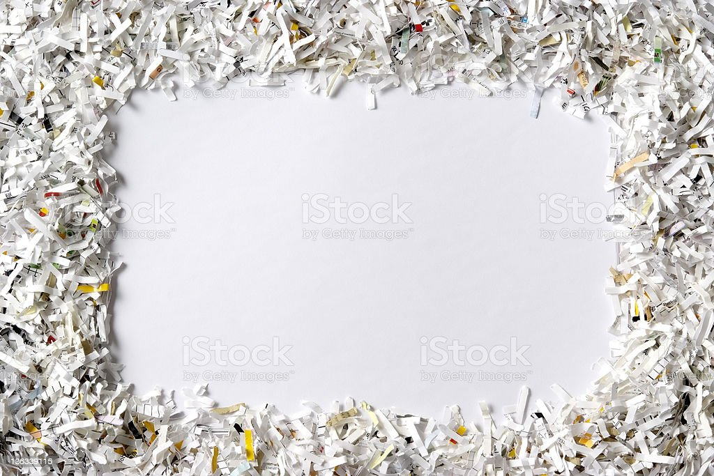 Frame of the shredded paper on white background stock photo