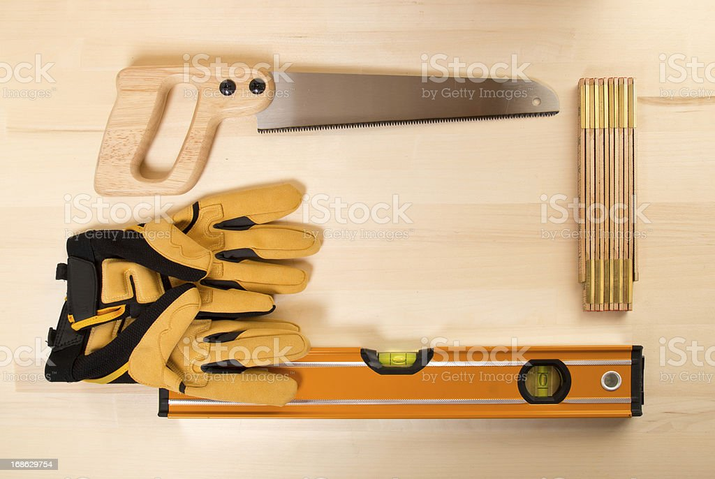 Frame of Tools on Wooden Work Bench royalty-free stock photo