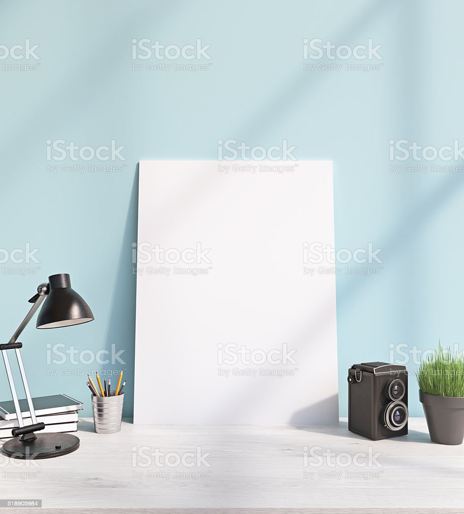 Frame on table stock photo