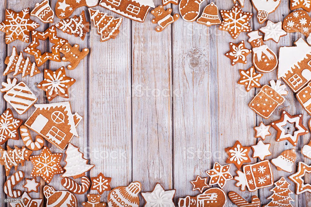 Frame on the wood from the gingerbread cookies stock photo