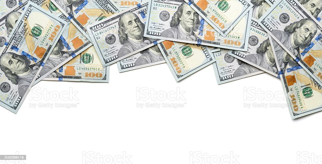 frame one side with 100 dollar bills stock photo