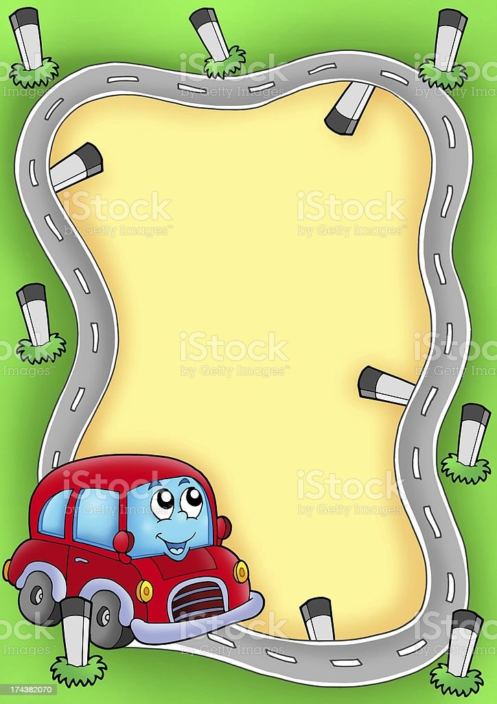 Frame with cartoon red car royalty-free stock photo