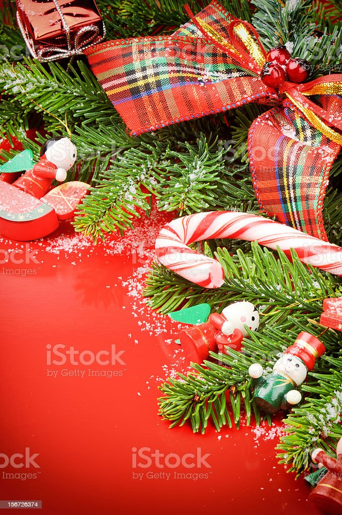 Frame with Christmas tree and vintage decorations royalty-free stock photo