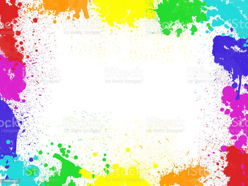 Frame with color blobs and stains, isolated on white background stock photo