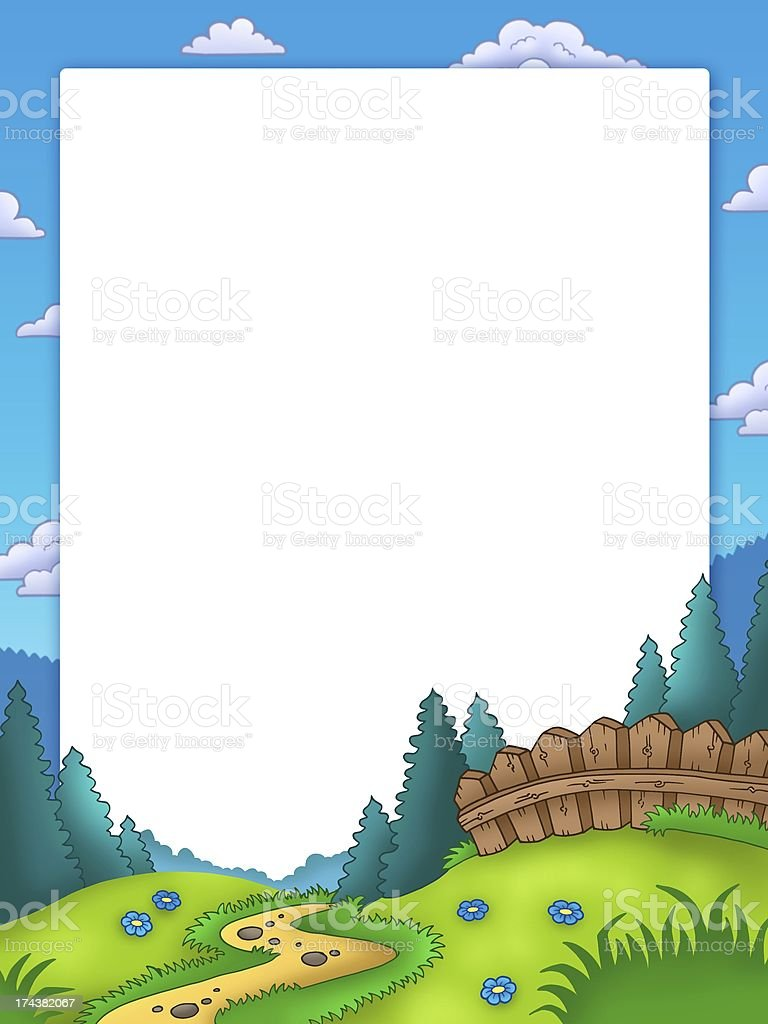 Frame with country landscape royalty-free stock photo