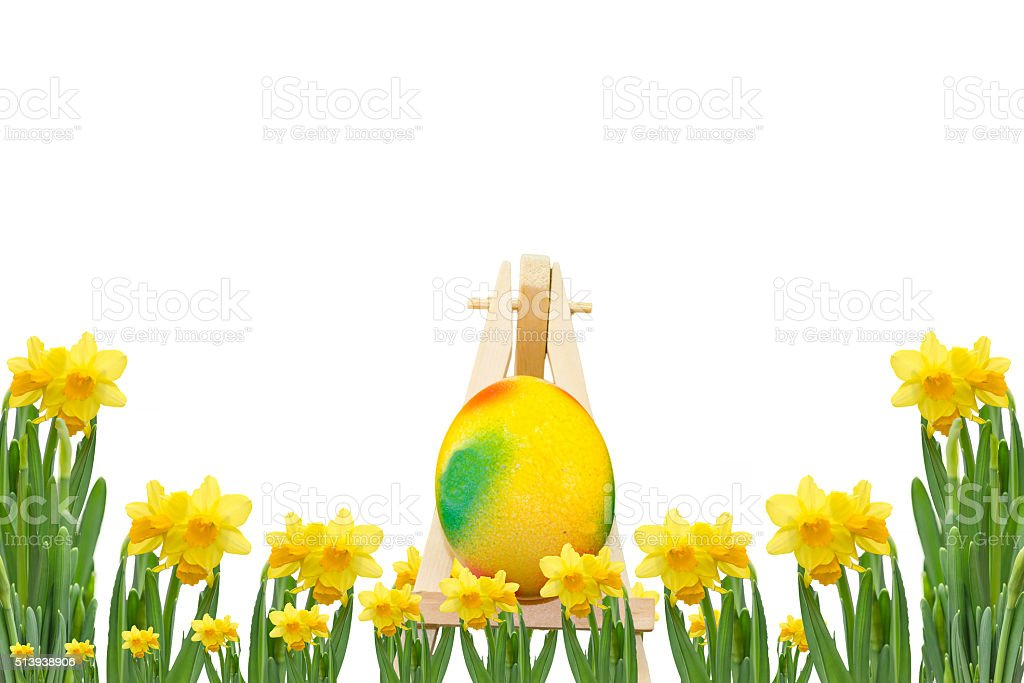 Frame with daffodils and Easter Egg stock photo