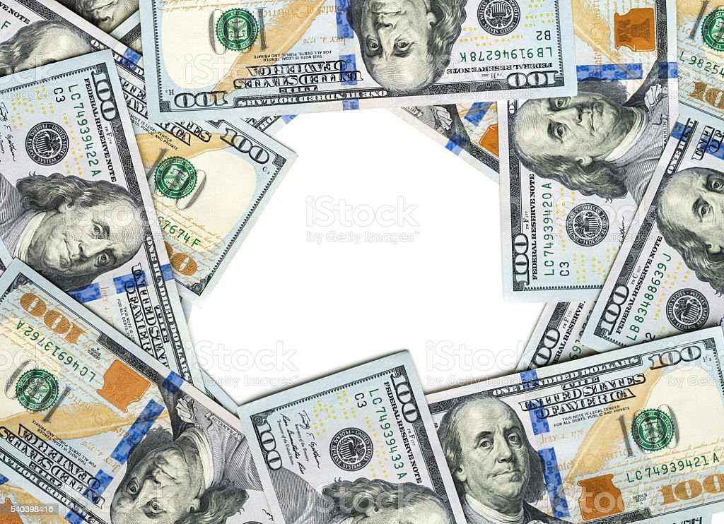 frame with  dollar bills stock photo
