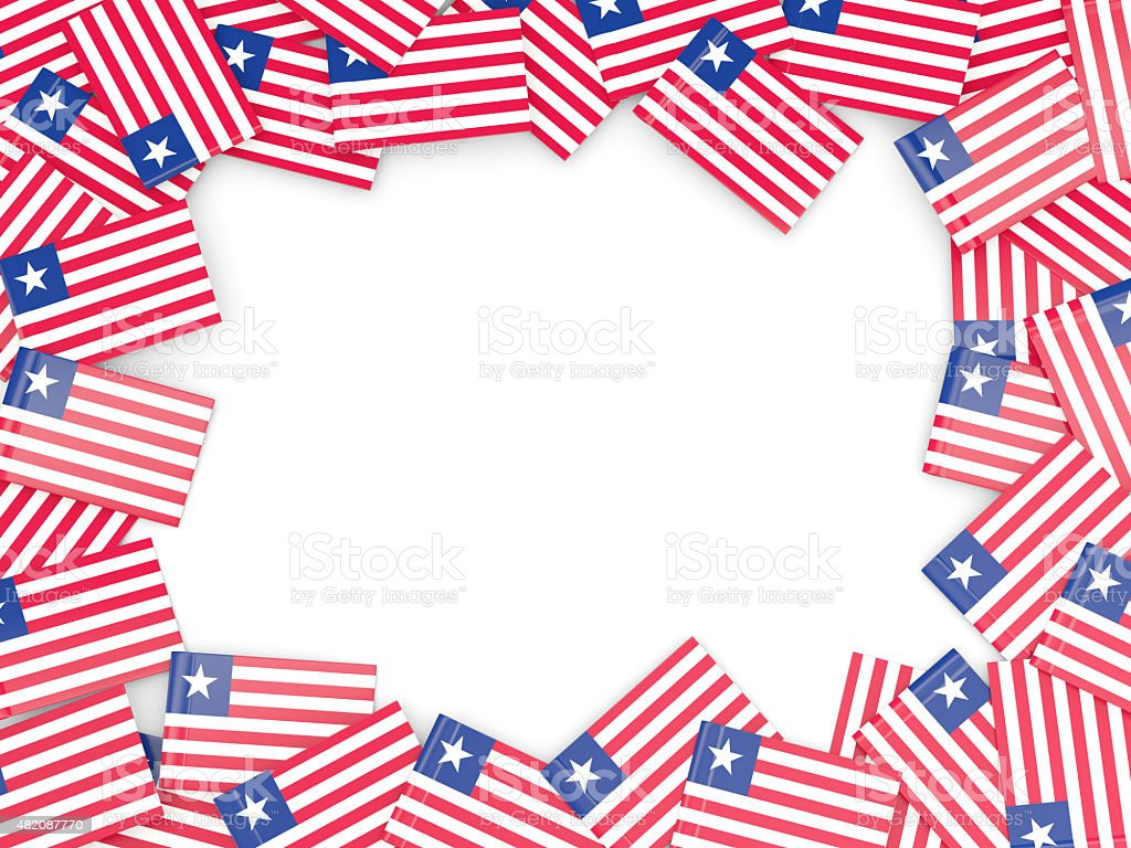 Frame with flag of liberia stock photo