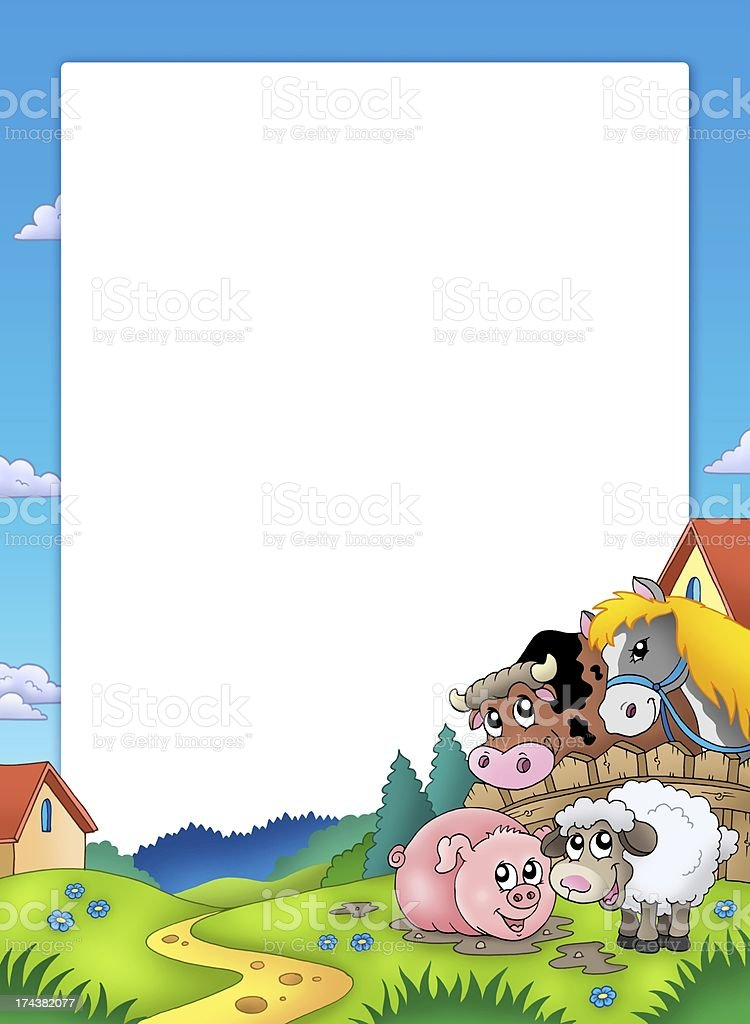Frame with landscape and animals royalty-free stock photo
