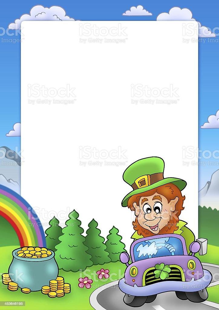 Frame with leprechaun driving car stock photo
