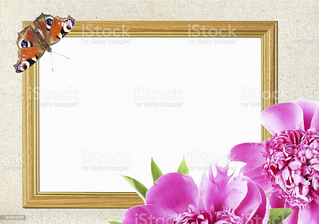 frame with pink peony flower and butterfly royalty-free stock photo