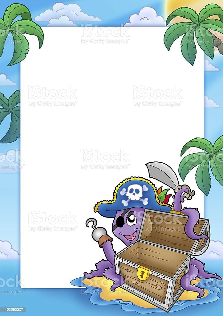 Frame with pirate octopus royalty-free stock photo