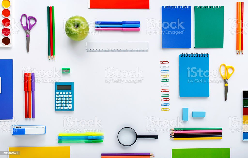 Frame with school supplies on a white background stock photo